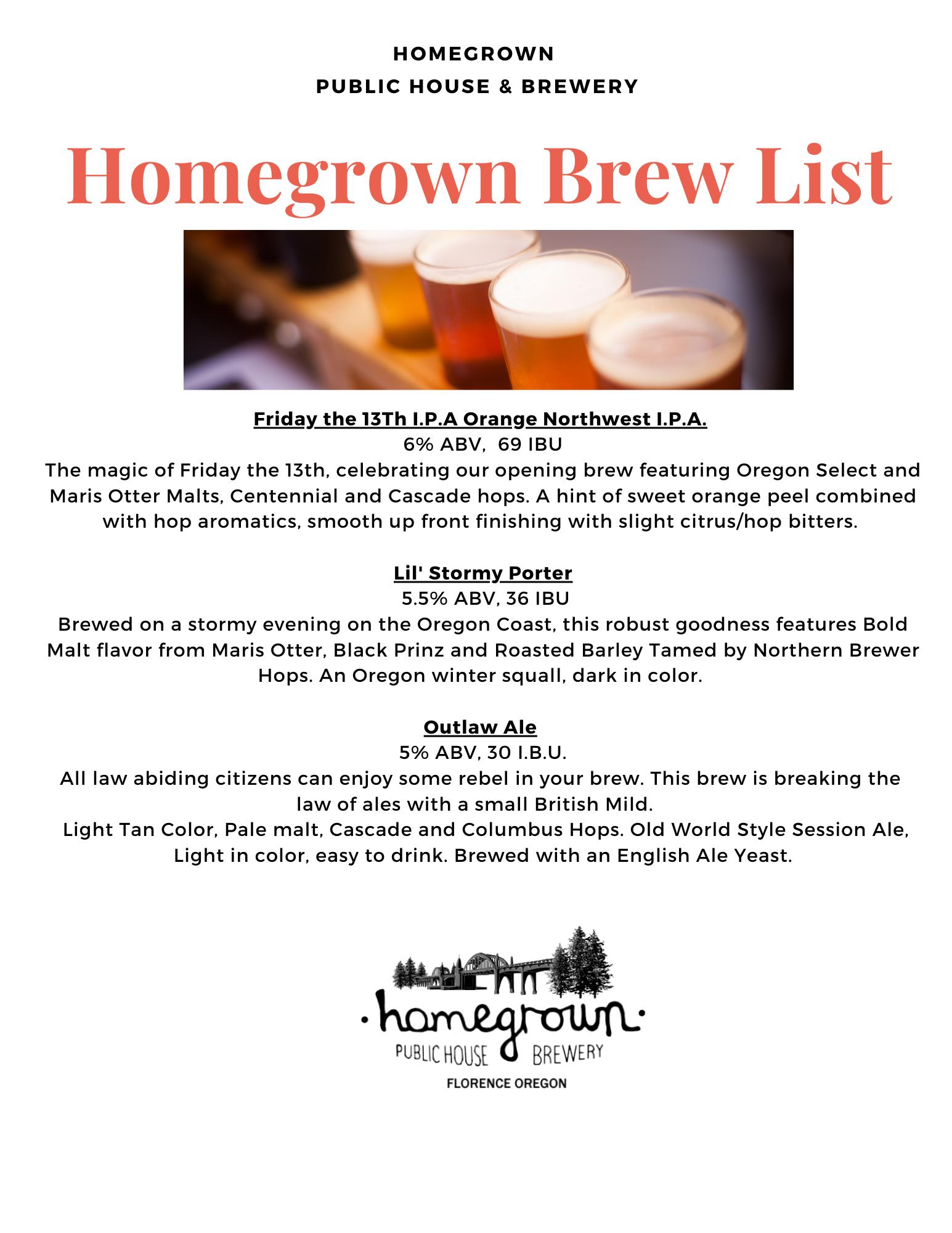 Homegrown Brew List